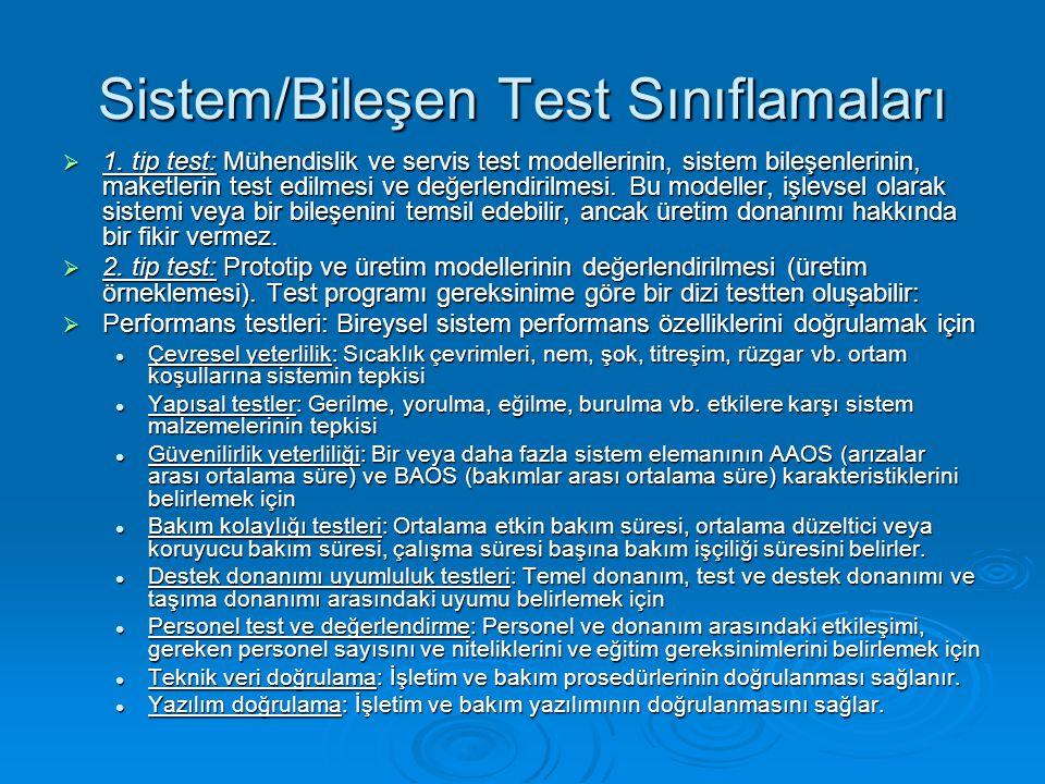 Sistem/Bileşen Test Sınıflamaları