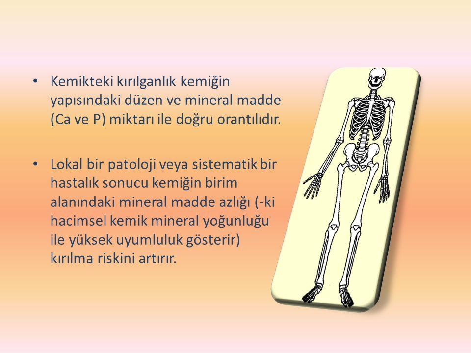 Kemikteki kırılganlık kemiğin yapısındaki düzen ve mineral madde (Ca ve P) miktarı ile doğru orantılıdır.