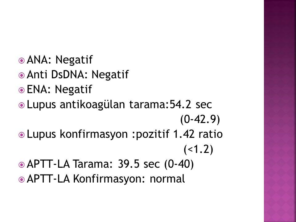 ANA: Negatif Anti DsDNA: Negatif. ENA: Negatif. Lupus antikoagülan tarama:54.2 sec. (0-42.9) Lupus konfirmasyon :pozitif 1.42 ratio.