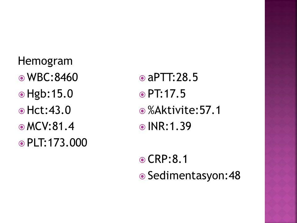 Hemogram WBC:8460. Hgb:15.0. Hct:43.0. MCV:81.4. PLT:173.000. aPTT:28.5. PT:17.5. %Aktivite:57.1.