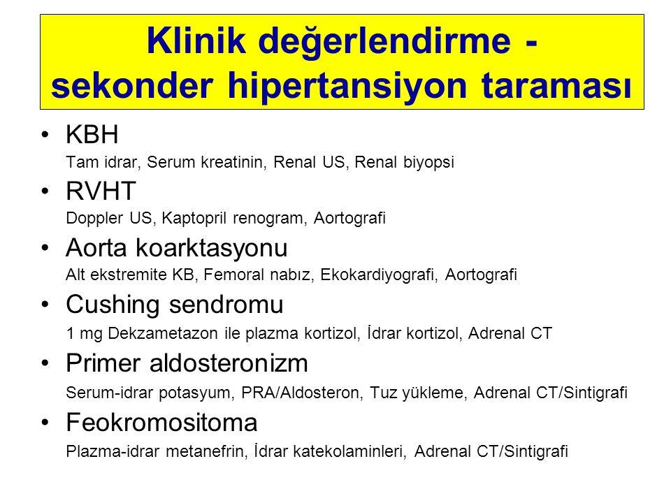 Klinik değerlendirme - sekonder hipertansiyon taraması