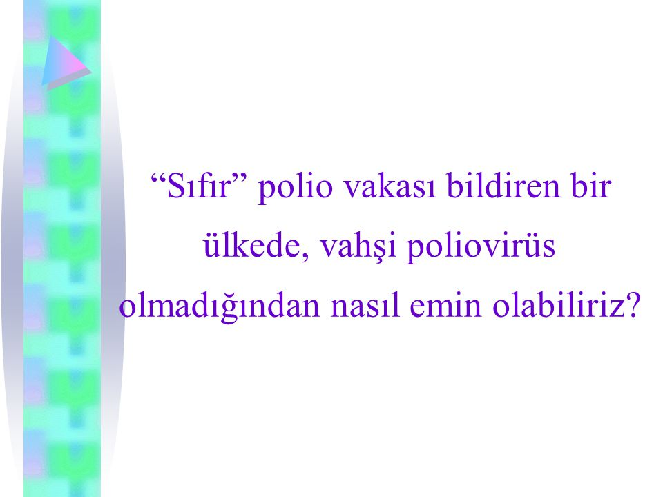 Sıfır polio vakası bildiren bir ülkede, vahşi poliovirüs olmadığından nasıl emin olabiliriz