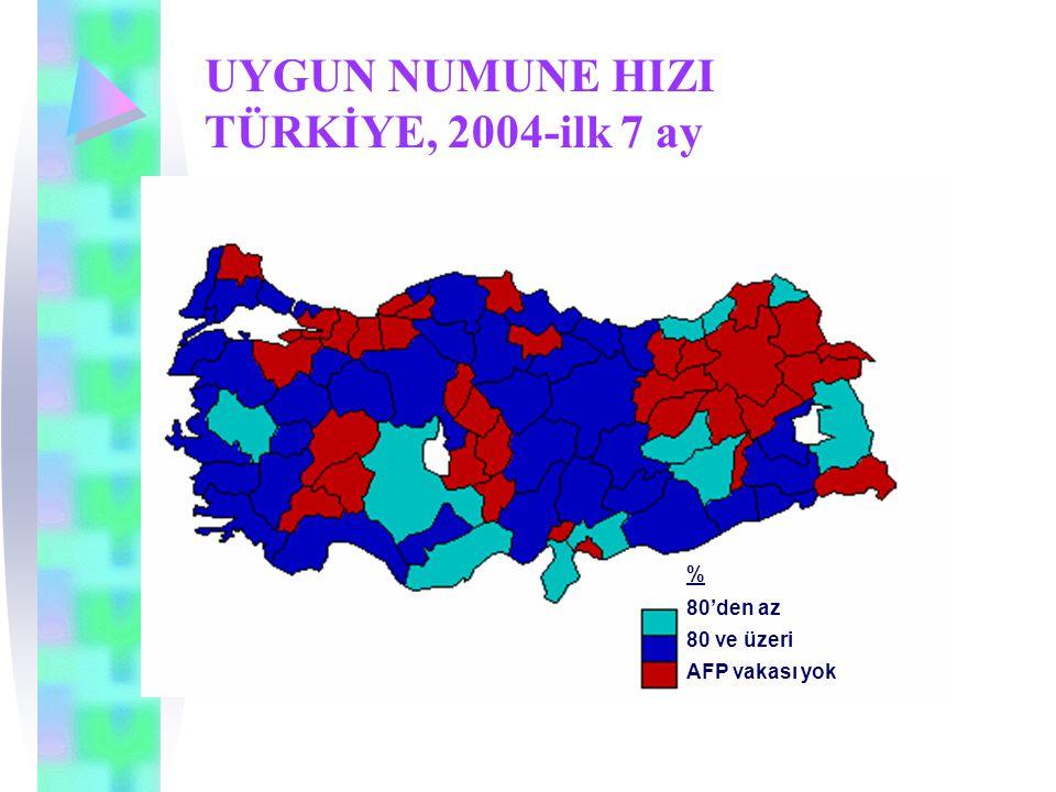 UYGUN NUMUNE HIZI TÜRKİYE, 2004-ilk 7 ay