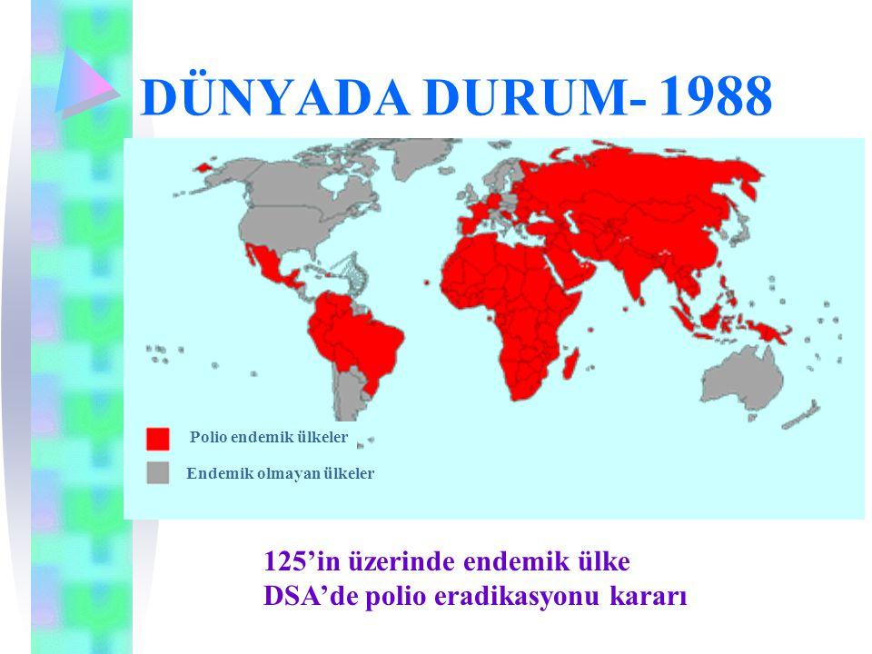 DÜNYADA DURUM- 1988 125'in üzerinde endemik ülke