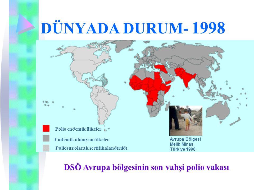 DÜNYADA DURUM- 1998 DSÖ Avrupa bölgesinin son vahşi polio vakası