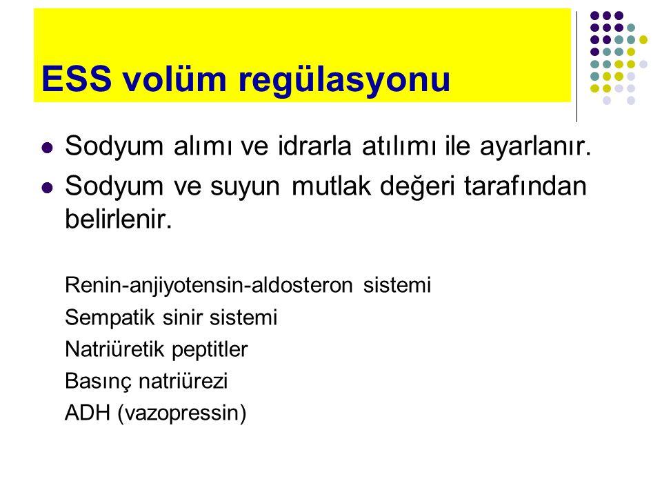 ESS volüm regülasyonu Sodyum alımı ve idrarla atılımı ile ayarlanır.