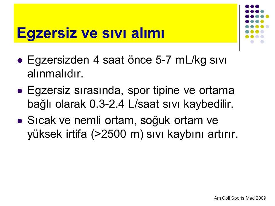 Egzersiz ve sıvı alımı Egzersizden 4 saat önce 5-7 mL/kg sıvı alınmalıdır.