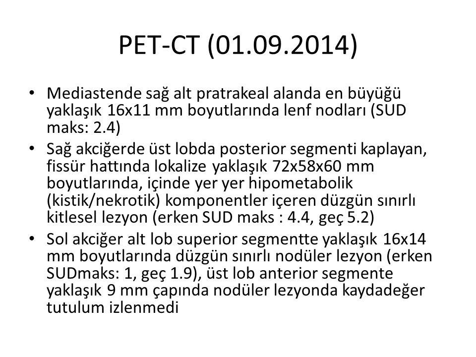 PET-CT (01.09.2014) Mediastende sağ alt pratrakeal alanda en büyüğü yaklaşık 16x11 mm boyutlarında lenf nodları (SUD maks: 2.4)