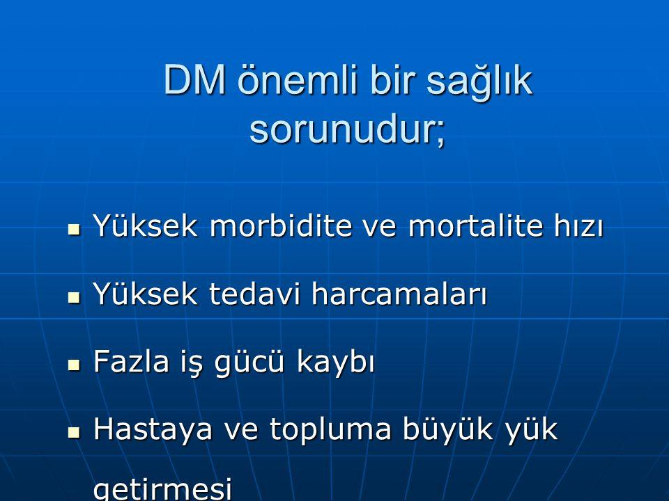 DM önemli bir sağlık sorunudur;