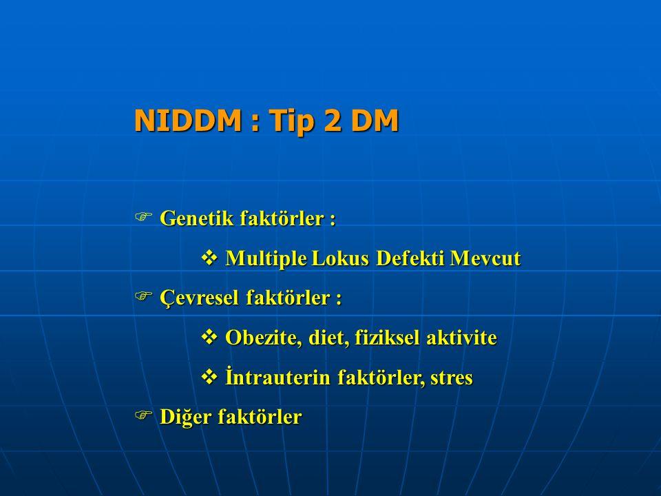 NIDDM : Tip 2 DM Genetik faktörler : Multiple Lokus Defekti Mevcut
