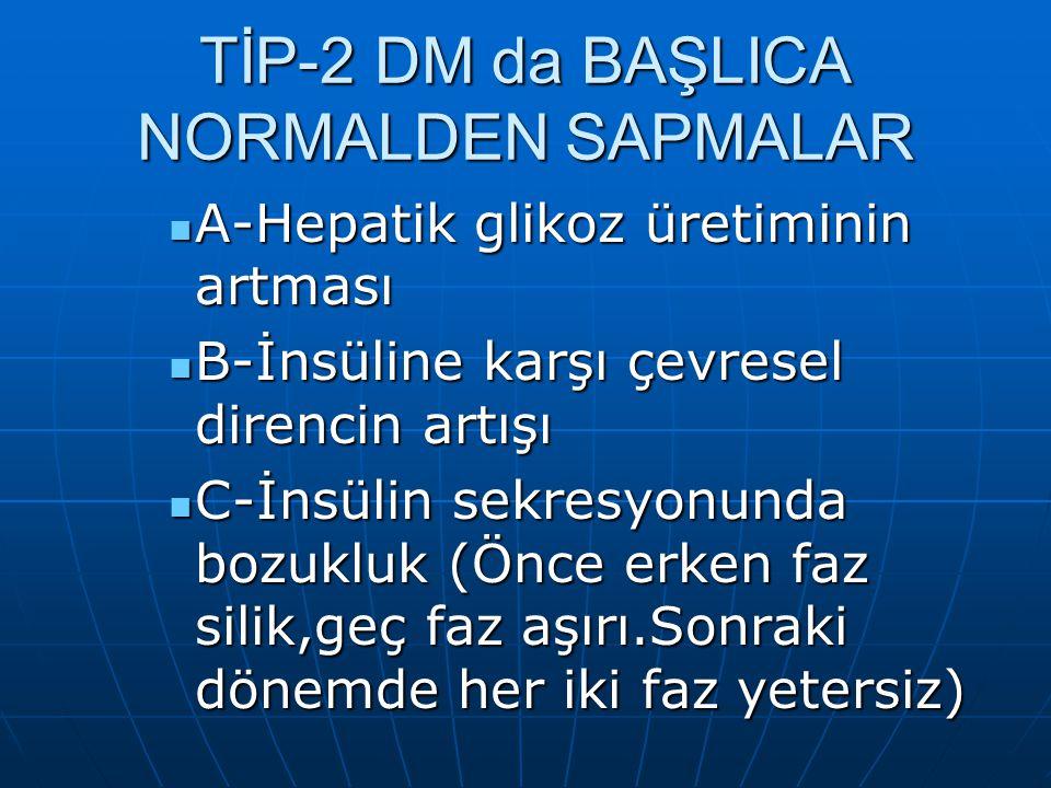 TİP-2 DM da BAŞLICA NORMALDEN SAPMALAR
