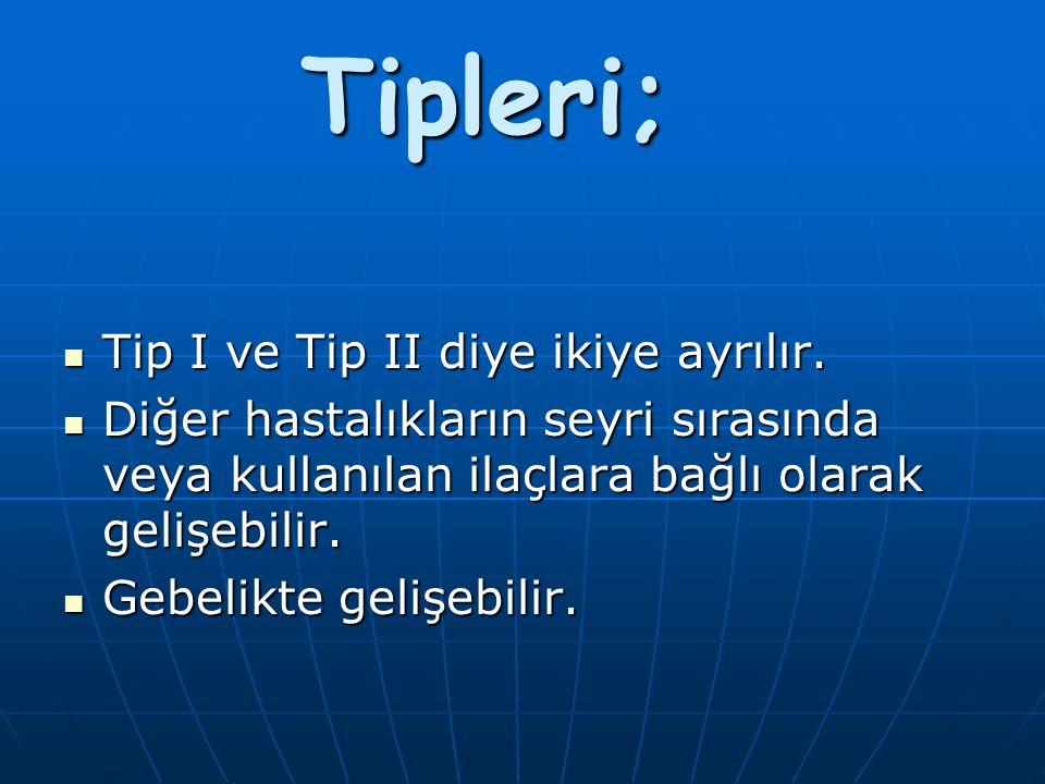 Tipleri; Tip I ve Tip II diye ikiye ayrılır.