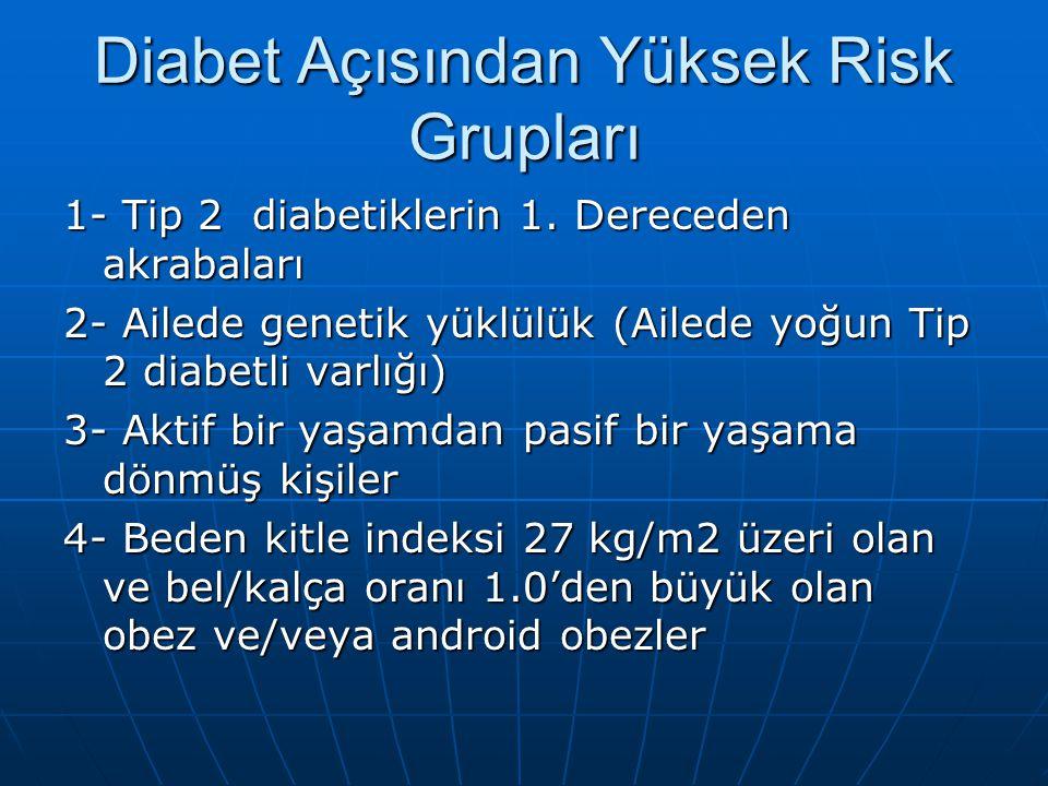 Diabet Açısından Yüksek Risk Grupları