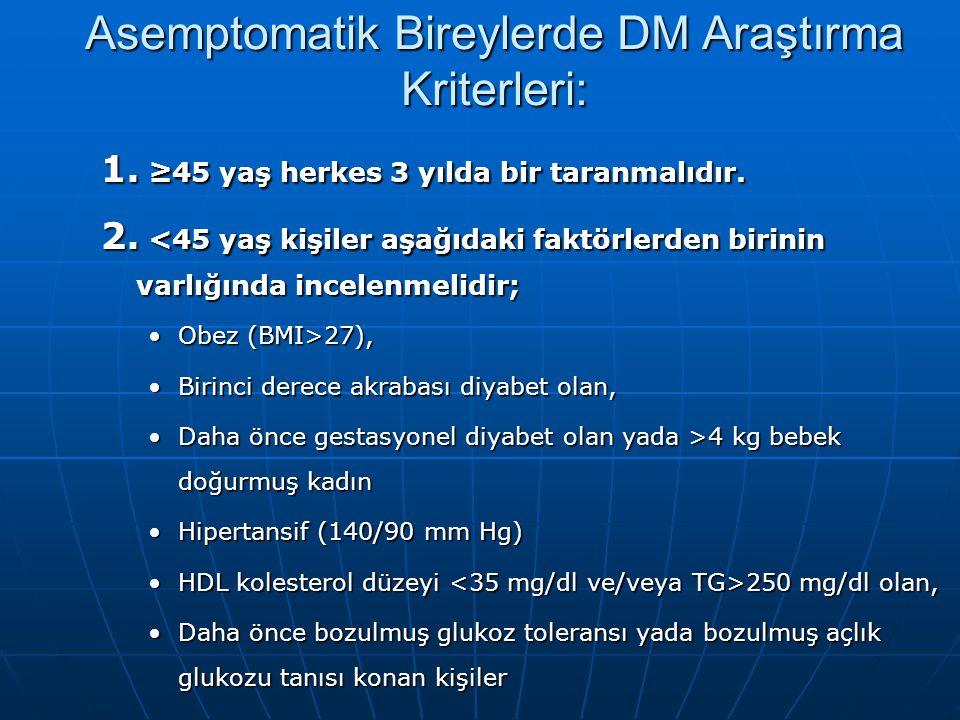 Asemptomatik Bireylerde DM Araştırma Kriterleri: