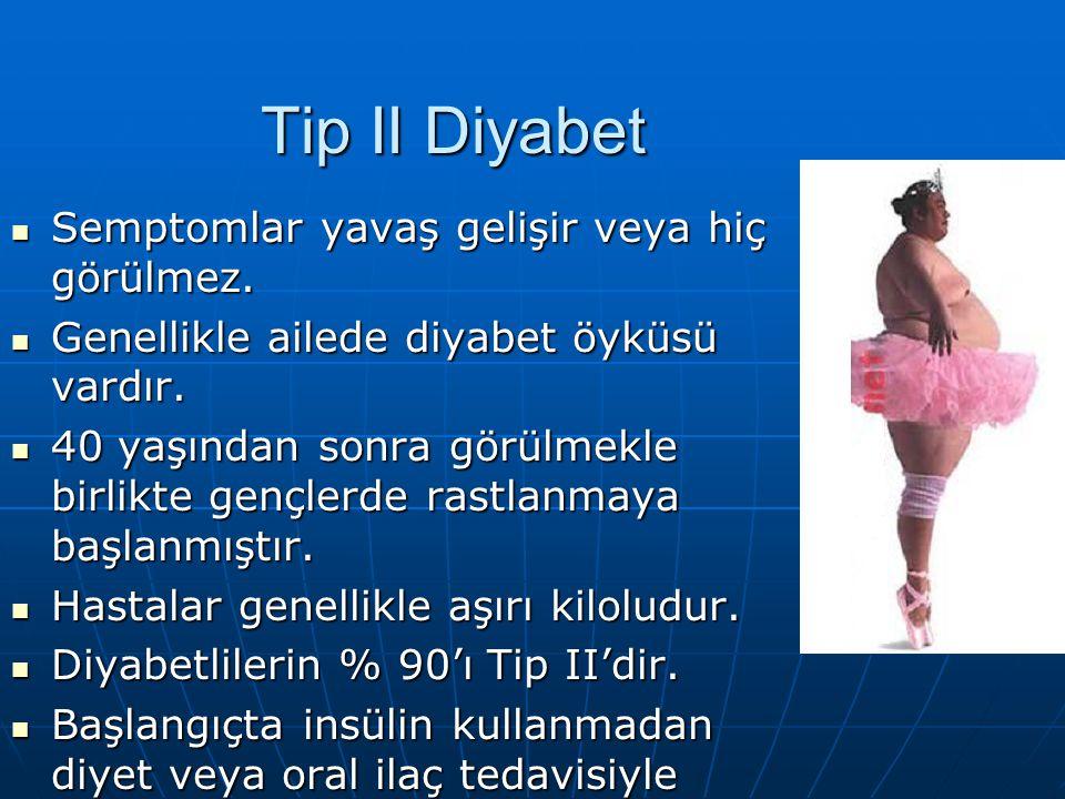 Tip II Diyabet Semptomlar yavaş gelişir veya hiç görülmez.