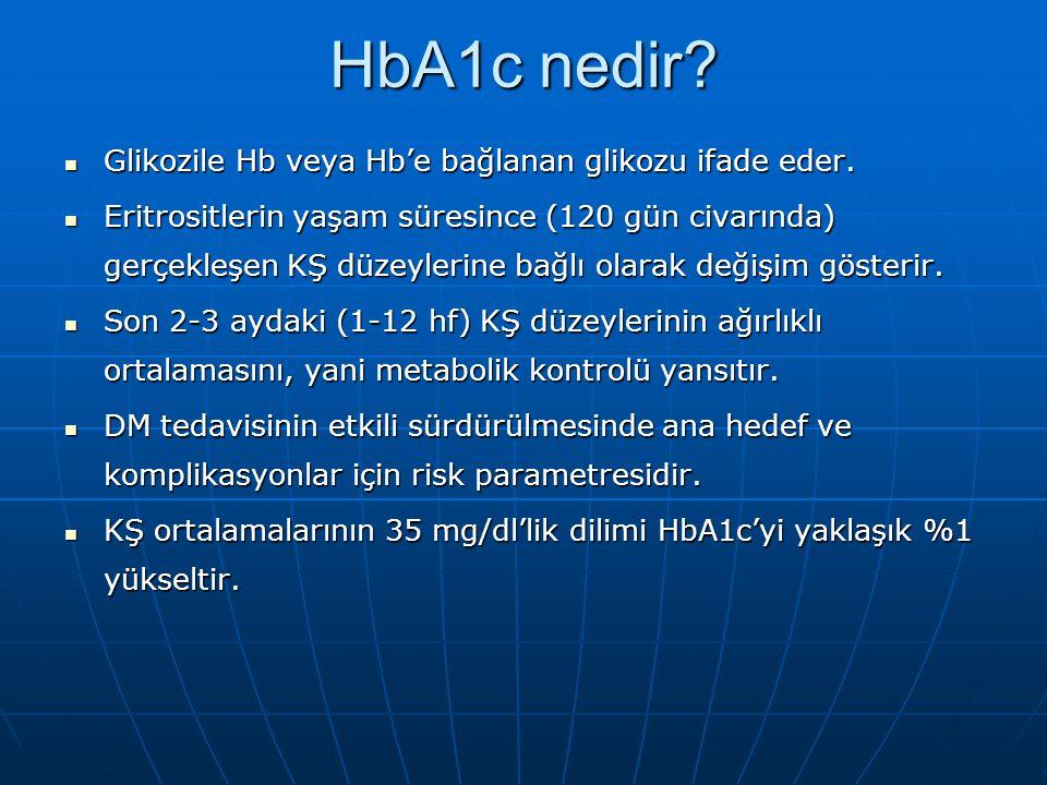 HbA1c nedir Glikozile Hb veya Hb'e bağlanan glikozu ifade eder.