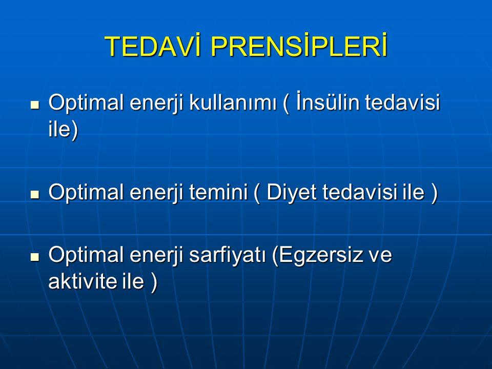 TEDAVİ PRENSİPLERİ Optimal enerji kullanımı ( İnsülin tedavisi ile)
