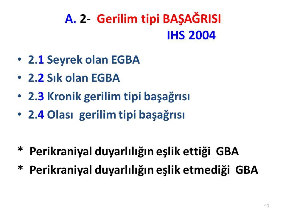 A. 2- Gerilim tipi BAŞAĞRISI IHS 2004