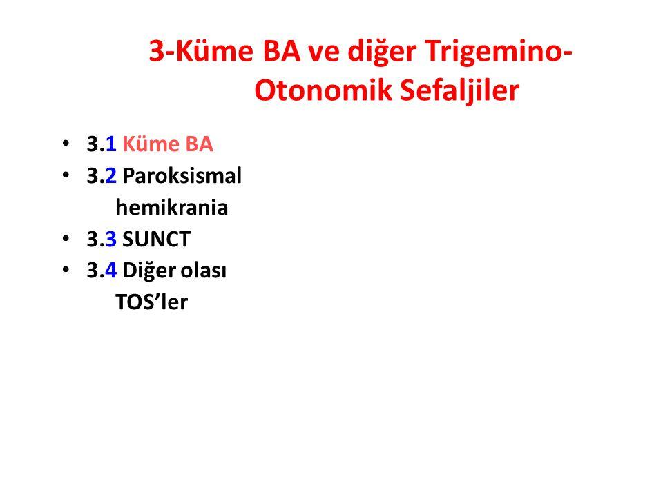 3-Küme BA ve diğer Trigemino- Otonomik Sefaljiler