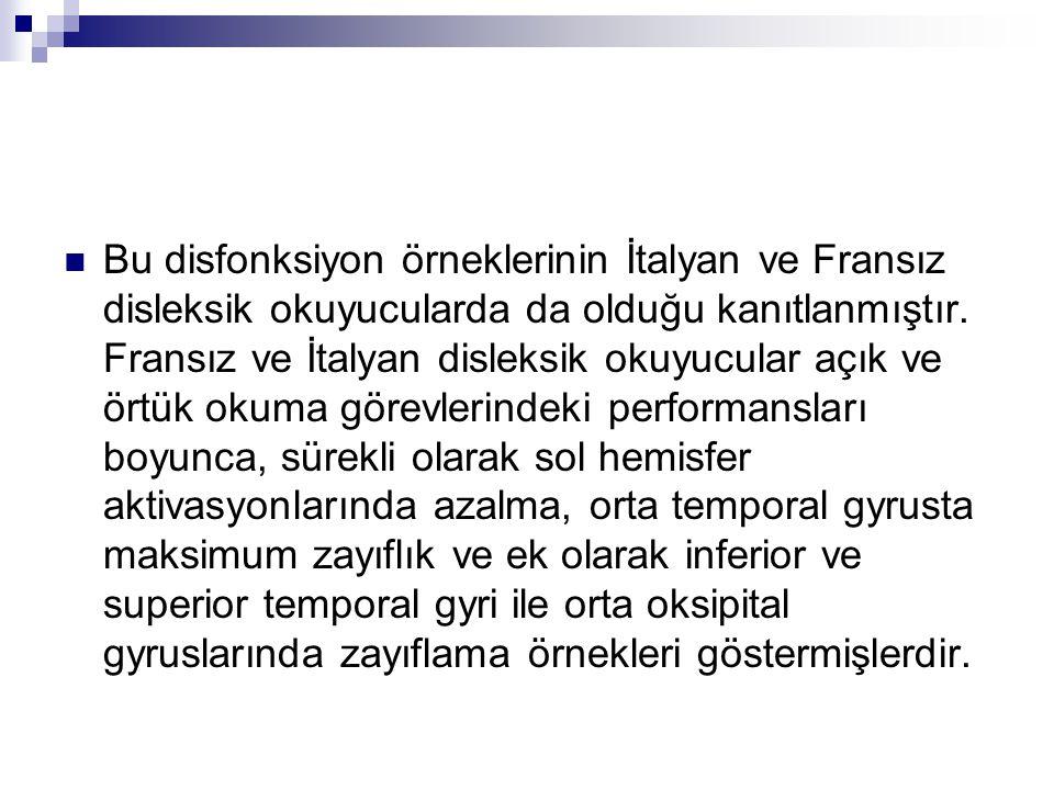 Bu disfonksiyon örneklerinin İtalyan ve Fransız disleksik okuyucularda da olduğu kanıtlanmıştır.