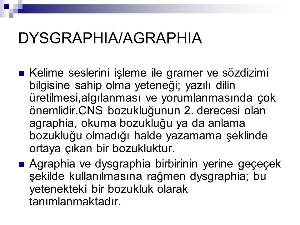 DYSGRAPHIA/AGRAPHIA