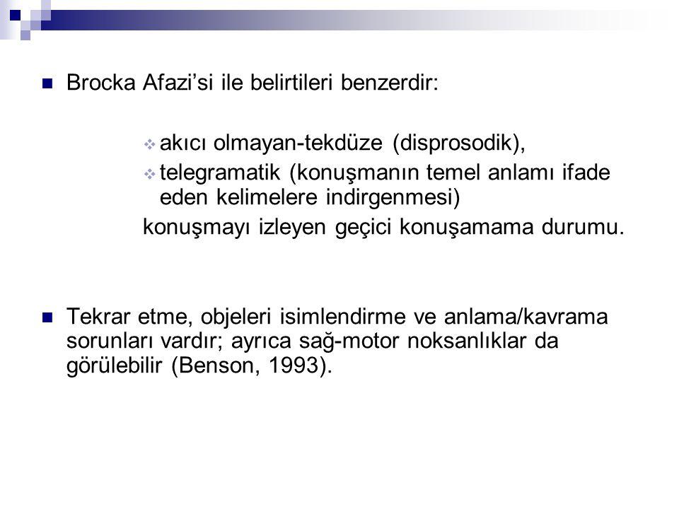 Brocka Afazi'si ile belirtileri benzerdir: