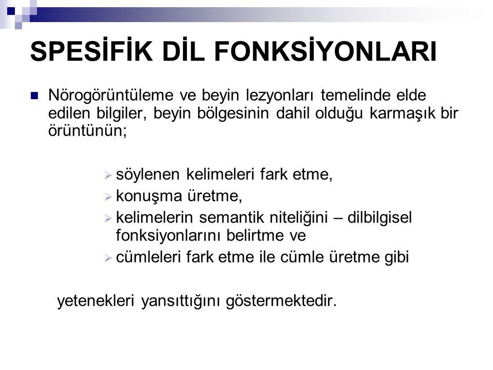 SPESİFİK DİL FONKSİYONLARI