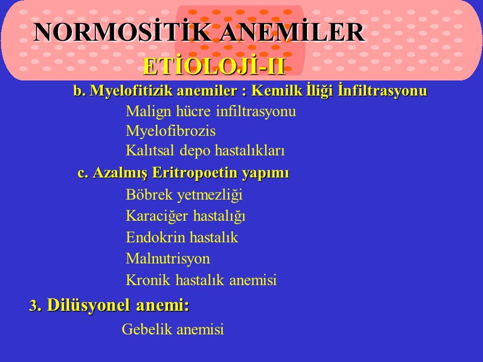 NORMOSİTİK ANEMİLER ETİOLOJİ-II