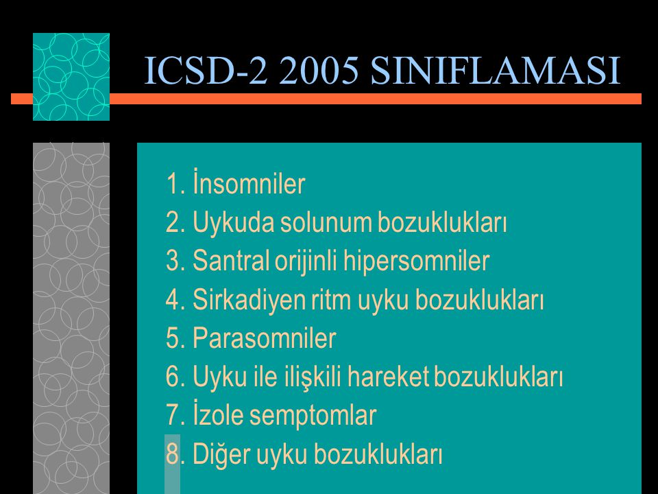ICSD-2 2005 SINIFLAMASI 1. İnsomniler 2. Uykuda solunum bozuklukları