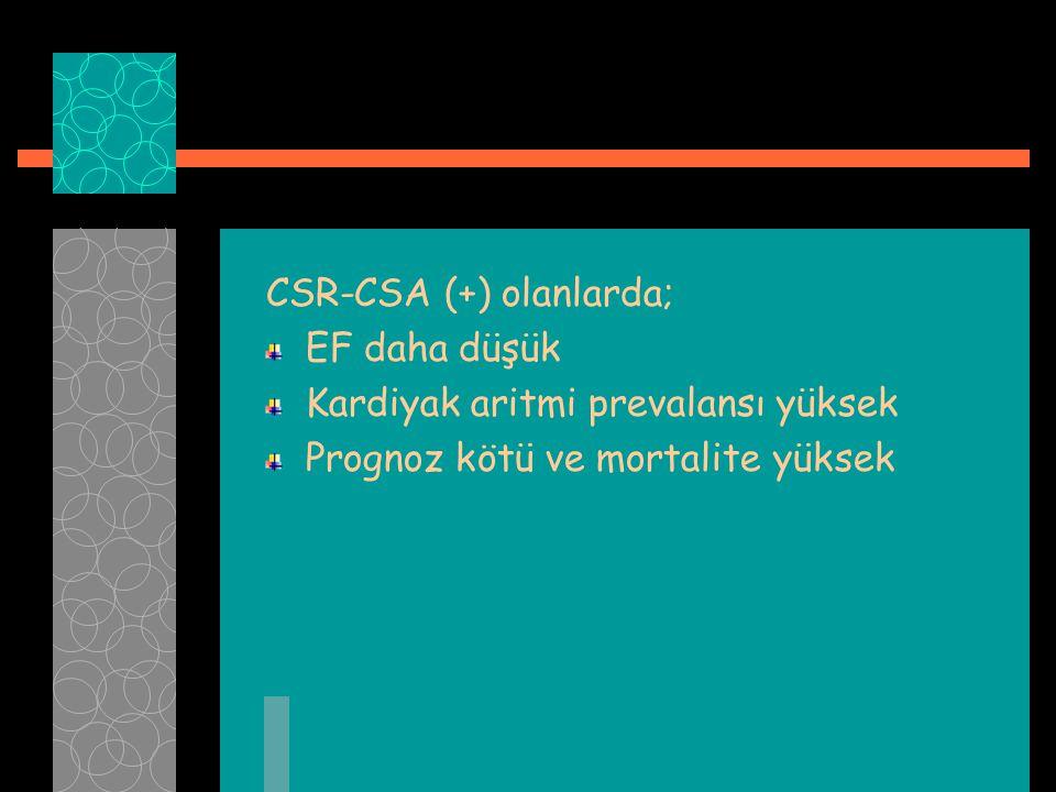 CSR-CSA (+) olanlarda; EF daha düşük Kardiyak aritmi prevalansı yüksek