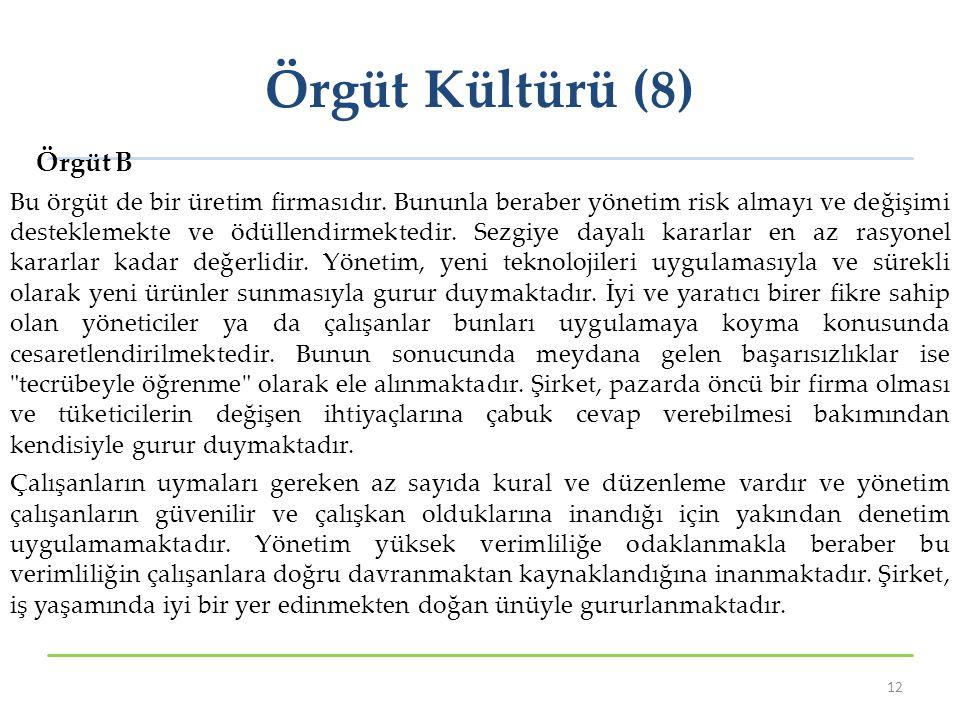 Örgüt Kültürü (8) Örgüt B
