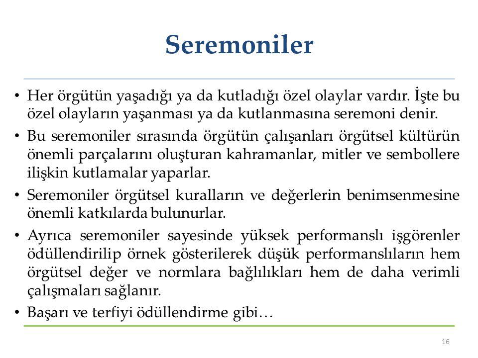 Seremoniler Her örgütün yaşadığı ya da kutladığı özel olaylar vardır. İşte bu özel olayların yaşanması ya da kutlanmasına seremoni denir.