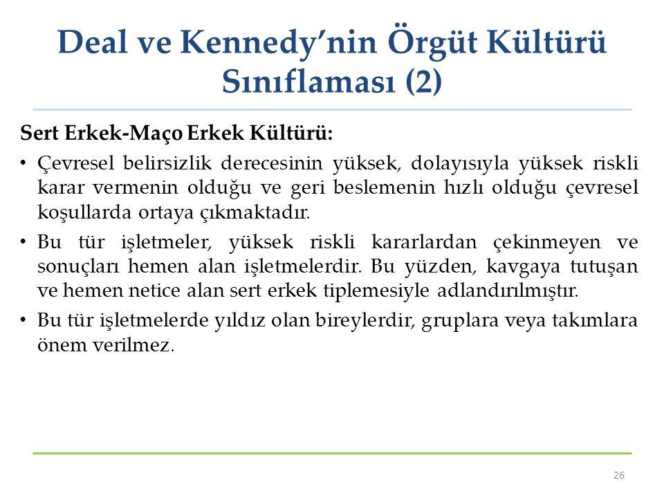 Deal ve Kennedy'nin Örgüt Kültürü Sınıflaması (2)