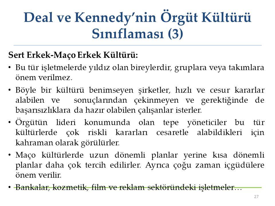 Deal ve Kennedy'nin Örgüt Kültürü Sınıflaması (3)