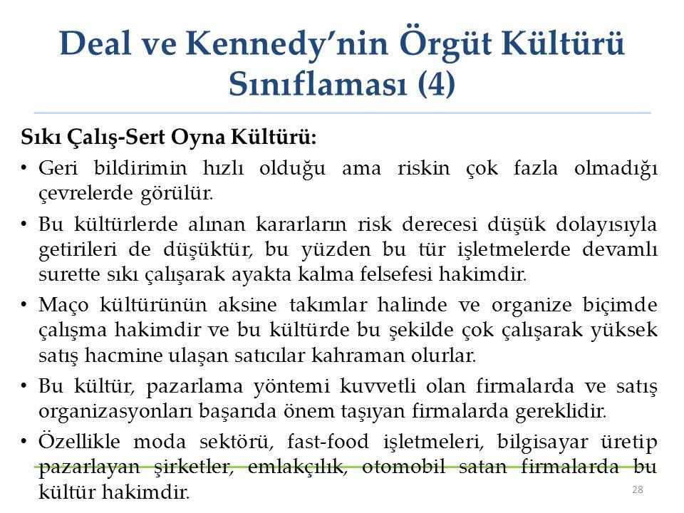 Deal ve Kennedy'nin Örgüt Kültürü Sınıflaması (4)