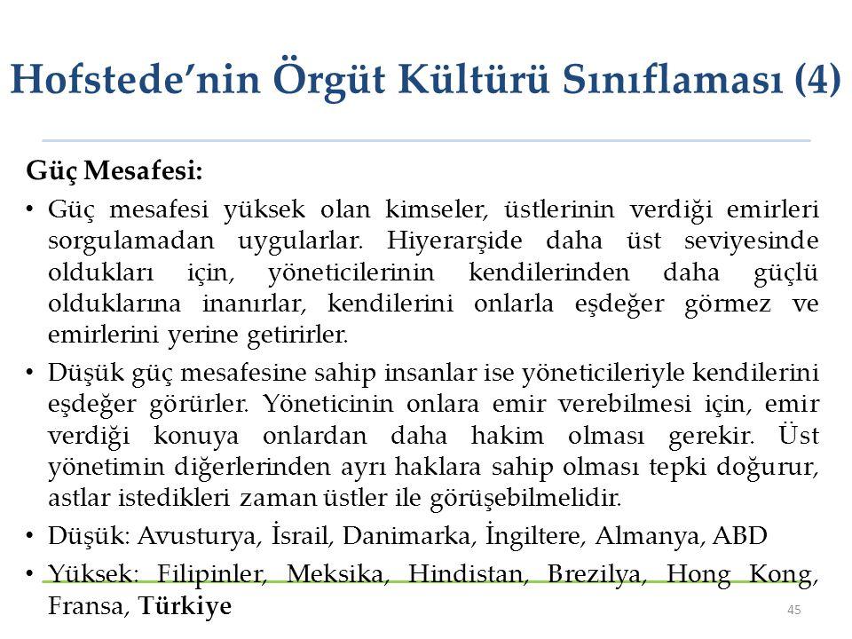 Hofstede'nin Örgüt Kültürü Sınıflaması (4)