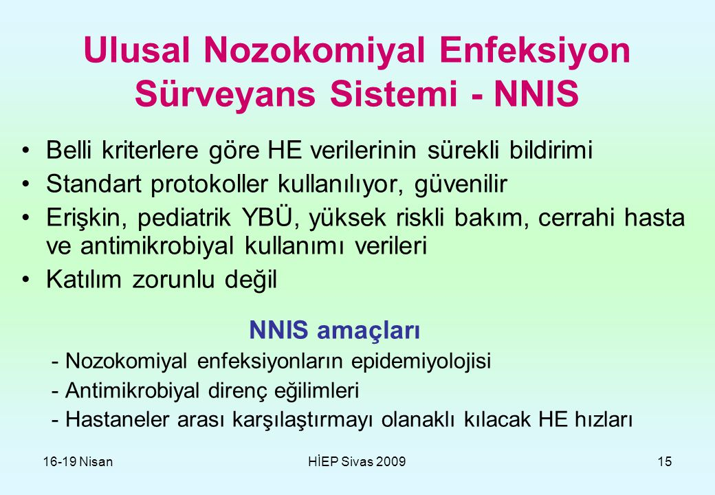 Ulusal Nozokomiyal Enfeksiyon Sürveyans Sistemi - NNIS