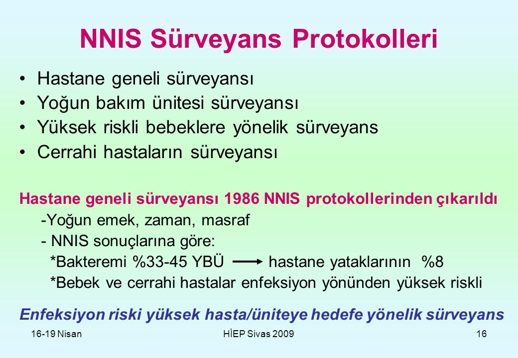 NNIS Sürveyans Protokolleri