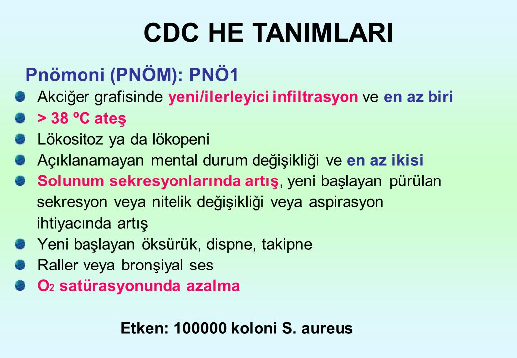 CDC HE TANIMLARI Pnömoni (PNÖM): PNÖ1