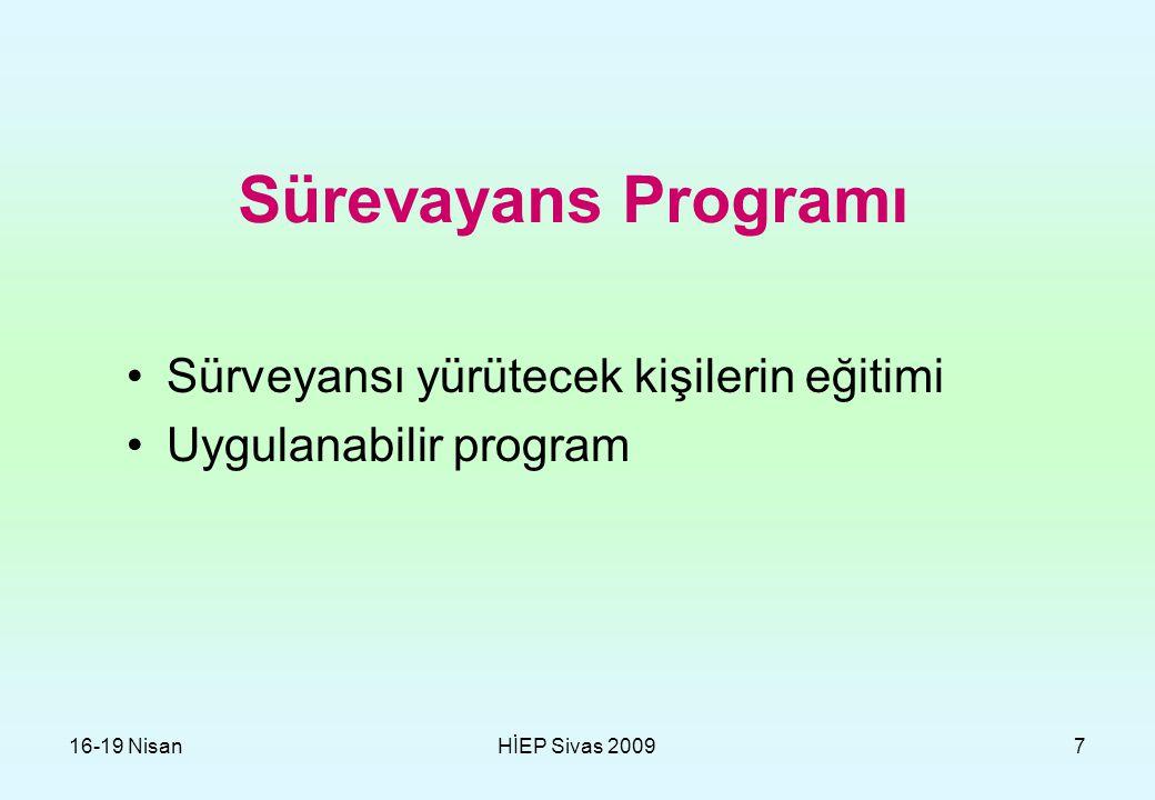 Sürevayans Programı Sürveyansı yürütecek kişilerin eğitimi