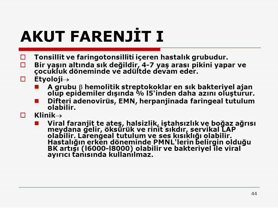 AKUT FARENJİT I Tonsillit ve faringotonsilliti içeren hastalık grubudur.