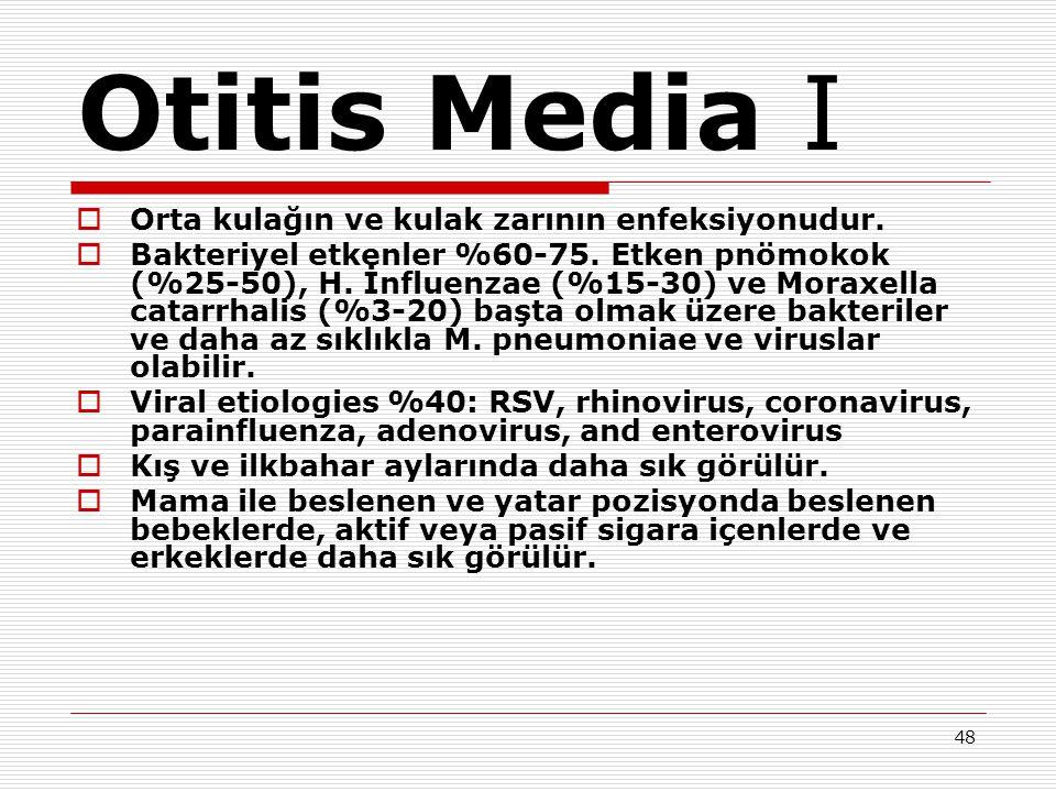 Otitis Media I Orta kulağın ve kulak zarının enfeksiyonudur.
