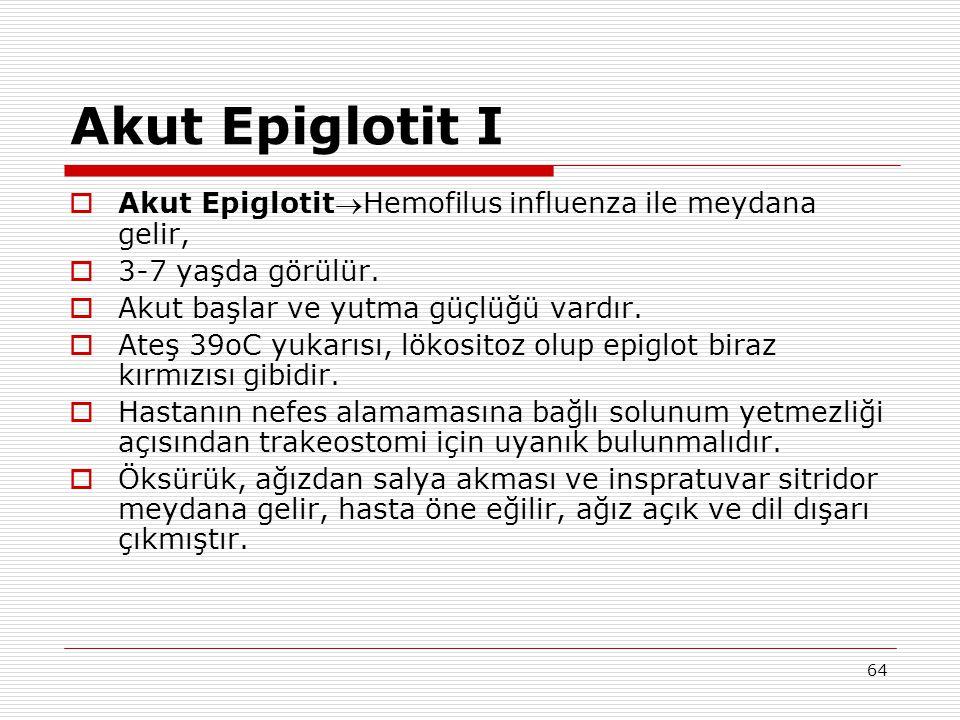 Akut Epiglotit I Akut EpiglotitHemofilus influenza ile meydana gelir,