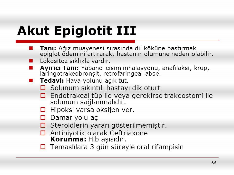 Akut Epiglotit III Solunum sıkıntılı hastayı dik oturt