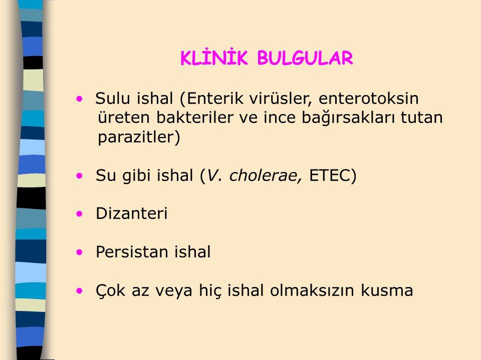 KLİNİK BULGULAR Sulu ishal (Enterik virüsler, enterotoksin
