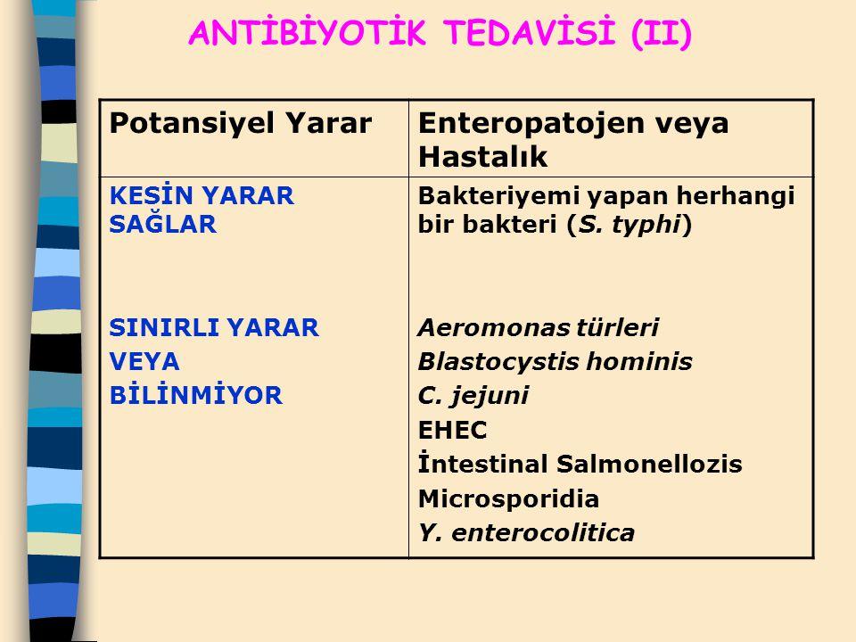 ANTİBİYOTİK TEDAVİSİ (II)