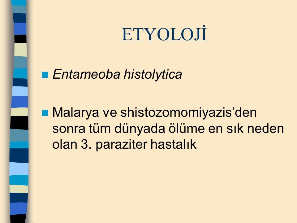 ETYOLOJİ Entameoba histolytica