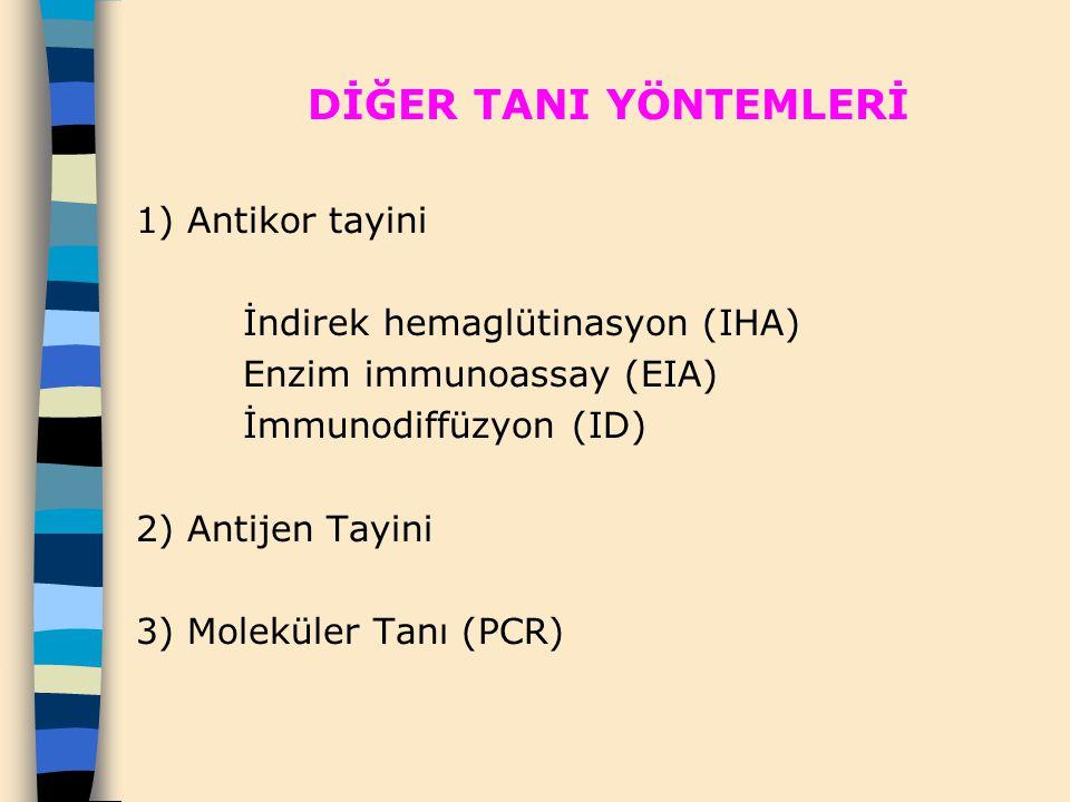 DİĞER TANI YÖNTEMLERİ 1) Antikor tayini. İndirek hemaglütinasyon (IHA)