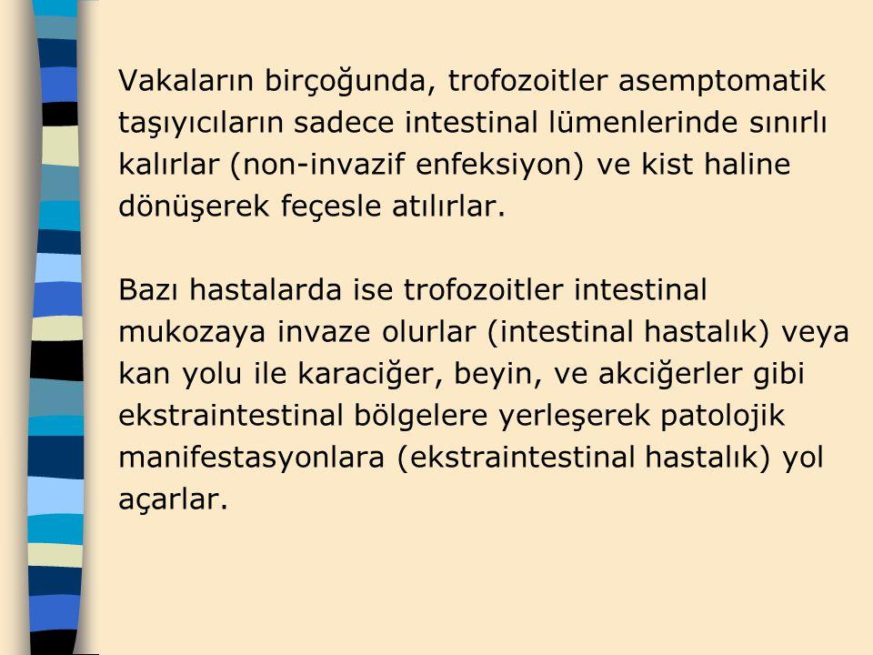 Vakaların birçoğunda, trofozoitler asemptomatik taşıyıcıların sadece intestinal lümenlerinde sınırlı kalırlar (non-invazif enfeksiyon) ve kist haline dönüşerek feçesle atılırlar.