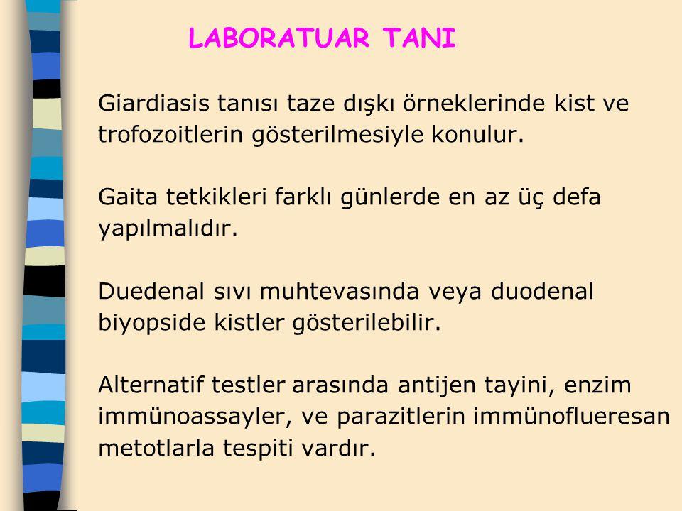 LABORATUAR TANI Giardiasis tanısı taze dışkı örneklerinde kist ve trofozoitlerin gösterilmesiyle konulur.
